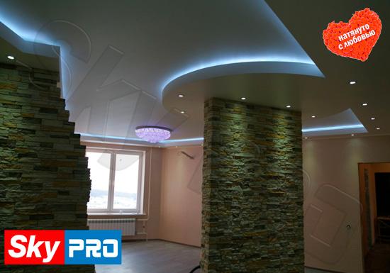 Дизайн потолка из двух уровней